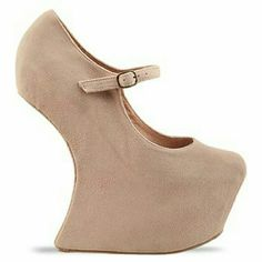 Jeffrey Campbell Nude Suede Nigthwalker leather Nigthwalker wedge with cutout heel.. super funky!! I wore these to a party in the hwood hills and received CRAZY compliments. Would love to sell to an awesome personality that will cherish these babies :) Urban Outfitters Shoes Platforms