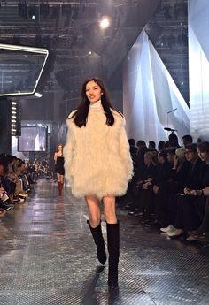 Faux fur coat on the #HMStudioAW14 runway. #PFW