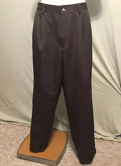 Roundtree /& Yorke Men/'s Corduroy Pleated//Cuffed Casual Pants Blue Brown New