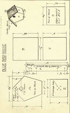 Some cut little birdhouse plans. I am pretty sure that if you print these you could just add a few tabs when you are cutting these out and have yourself some little paper birdhouses. Or you could… Madáretetők, Madarak, Mesterséges Madárodú, Famunka Bird House Plans Free, Bird House Kits, Bluebird House Plans, Bird House Feeder, Bird Feeders, Birdhouse Designs, Bird Aviary, Bird Houses Diy, Bird Boxes