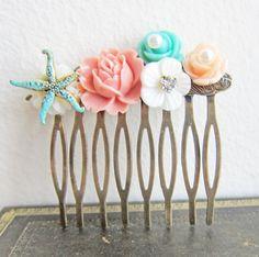 Starfish Hair Comb Beach Wedding Hair Comb Shabby by Jewelsalem, $38.00