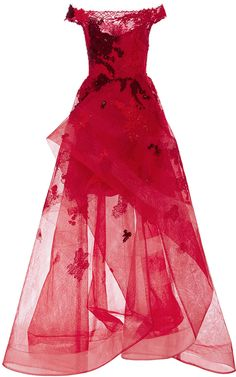 13060711bc337 Monique Lhuillier Off the Shoulder Embroidered Gown princess dress,  scarlet, red, burgundy ,