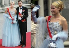 Crown Princess Mette-Marit of Norway in a dress by Ove Harder Finest; wedding of Princess Märtha Louise of Norway and mr. Ari Behn on May 24, 2002