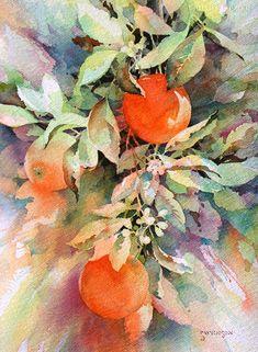 Watercolor Negative Painting, Watercolor Plants, Watercolor Landscape, Abstract Watercolor, Watercolor Paintings, Watercolors, Watercolor Pictures, Fruit Painting, Still Life Art