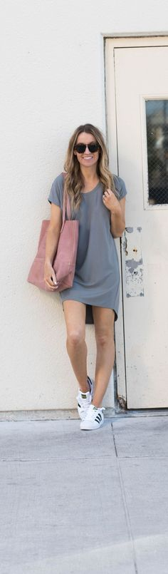 The perfect cozy chic spring momiform. Love this t shirt dress and Adidas Superstars- Life By Lee