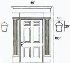 Outdoor lamps should be approximately the height and width of the doorway, including trim. (For example a high by wide entrance would require an fixture.) Post lights should be as large or larger than the lights at your front door. Front Door Lighting, Porch Lighting, Home Lighting, Outdoor Lighting, Lighting Ideas, Outdoor Lamps, Garage Lighting, Outdoor House Lights, Outdoor Wall Lantern