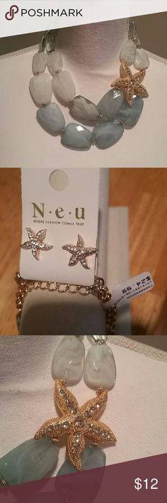 Large Bead & Stone Starfish Choker & Earrings Set Beautiful and sparkling light blue n white with large Gold-Tone Sparkling starfish.  Picture appears greenish in color bot necklace is light blue n white swirls.  Includes Gold-Tone & sparkling studs. Jewelry Necklaces