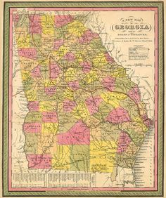S. Augustus Mitchell Map of Geogia,  1846.  From the website, Historical Atlas of Georgia Counties, which compilation of maps shows the evolution of county boundries, as well as the location of towns, roads, railroads, etc.  There are, as well, a number of other historical maps of Georgia before and during the Revolutionary War.