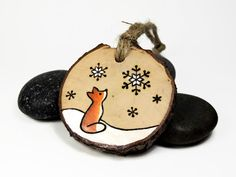 Fox ornament: natural wood burned woodland by SimplyTwitterpated