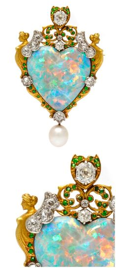 An important Renaissance Revival pendant brooch by Paulding Farnham for Tiffany & Co., with a large opal, diamonds, demaintoid garnets set in gold and platinum.