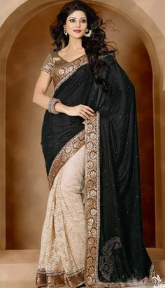 Beautiful Traditional Z Black Nett Jacquard Casual Saree Sarees