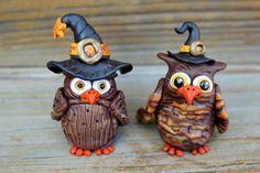 Witch Hooters Owl Polymer Clay Sculptures by mirandascritters, $18.00
