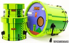 8bit Super Mario drum kit Beat your high score, defeat bowser and rescue the princess with this Super Mario themed custom drum kit. The set includes the standard rock kit pieces except the look like the pipes from the classic Mario video games you played as a kid. Made by SJC Custom Drums.  BUY IT HERE