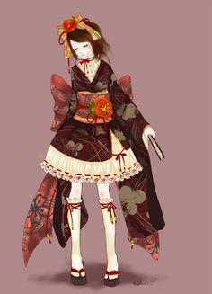 H-SAMA blog: Wa-loli Yutaka Molde - Waloli Yukata dress Pattern