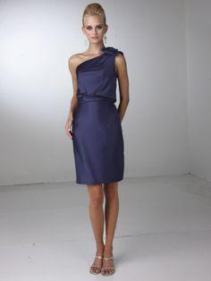One shoulder short bridesmaid dress Davinci 60060.