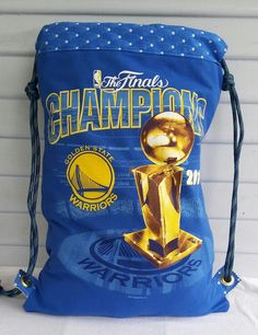 FOR SALE!! Golden State Warriors, Warriors upcycled T Shirt made into a Drawstring Backpack by AlamedaIslandGirl  on FB, Etsy, Instagram and Pinterest.