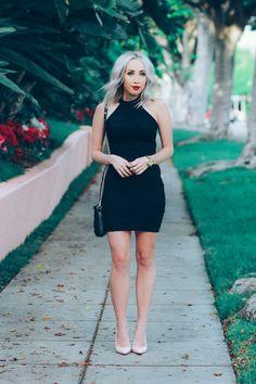 Black Lace Dress, Ballerina Pink Louboutin's | BlondieintheCity.com