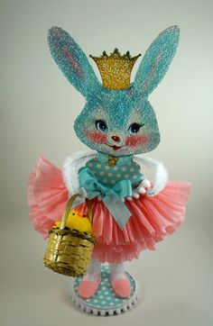 Retro Blue Bunny Decoration by SparkleLovesWhimsey on Etsy
