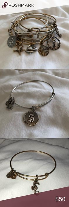 """Alex and Ani Bracelets - Set of 6 Nautical Themed Alex and Ani Bracelets - Set of 6 Nautical Themed and letter """"B"""" for beach or name - 3 silver and 3 gold, look great mixed together as a set - Gently used, some in better condition than others - see individual images for reference - always open to reasonable offers - NO TRADES Alex and Ani Jewelry Bracelets"""