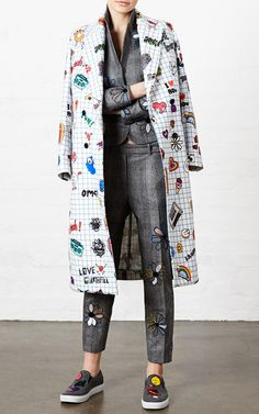 Notepad Printed Coat by Mira Mikati for Preorder on Moda Operandi