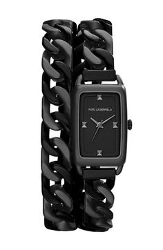 KARL LAGERFELD 'Kourbe' Double Wrap Bracelet Watch, 20mm x 30mm available at #Nordstrom  If I only had some money!