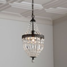 Clarissa Crystal Drop Small Round Chandelier | Pottery Barn ...