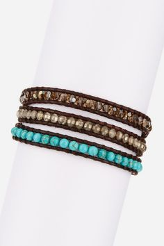 Turquoise & Swarovski Crystal Wrap Bracelet