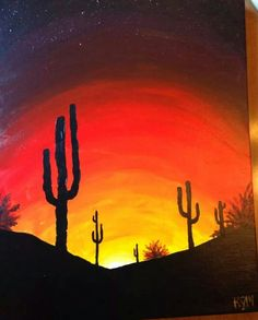 """""""Sonora Skies"""" Arts by KGM Easy Canvas Painting, Gouache Painting, Painting & Drawing, Canvas Art, Colorful Drawings, Art Drawings, Silouette Art, Paper Flower Art, Paint And Sip"""