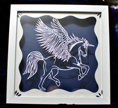 Unicorn, winged horse, pegasus, papercut template PDF download PERSONAL USE, horses, cut your own, craft, paper art, equine art, unique art by BabyFaceArt