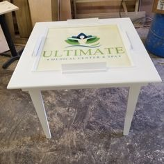 Custom white domino table finished in white laquer with embedded company logo. Featuring mitered corners, domino racks, routed edges, and tapered legs. Puerto Rico, Domino Table, Mitered Corners, Orlando Florida, Spa, Company Logo, Canning, Wood, Etsy