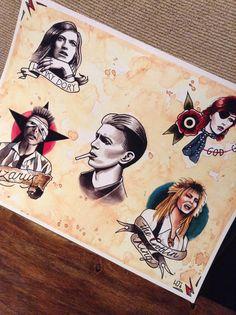 david bowie tattoo flash print