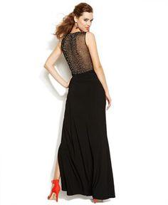 Joanna Chen Embellished Back Side-Slit Gown - Dresses - Women - Macy's