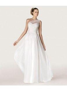 Chiffon Sheath Column Wedding Dress