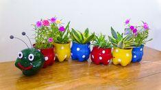 Plastic Bottle Decoration, Plastic Bottle Flowers, Plastic Bottle Crafts, Recycled Bottles, Recycle Plastic Bottles, Recycled Art, Diy Bottle Cap Crafts, Decorated Flower Pots, Plant Decor