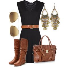 Black dress, brown leather accents