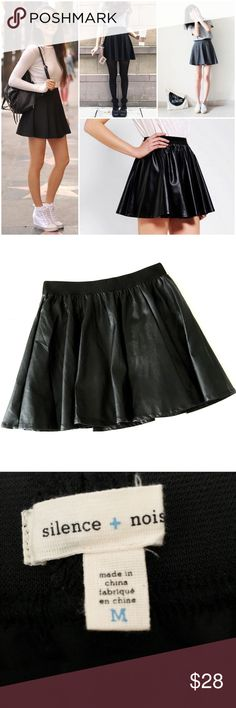 """silence + noise perforated faux leather mini Perforated faux leather, elastic waistband, fully lined. Laid flat measures 16"""" long, 14"""" across the waist UNstretched. No flaws to note, in gently worn condition. Please note modeled photos are for style inspiration only and are not of the actual skirt. Urban Outfitters Skirts Mini"""