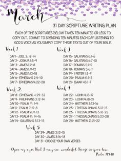 March Scripture Writing Plan                                                                                                                                                      More