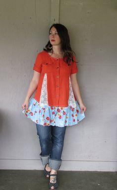 medium Large upcycled tunic dress / Romantic summer clothing / Funky tunic dress / Eco dress / Artsy dress Linen Lace by LillieNoraDryGoods