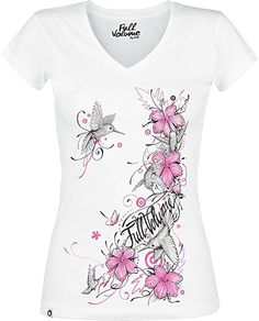 Full Volume by EMP Hibiscus Colibri Girl-Shirt weiß XS