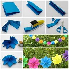 If you need to brighten up a dull space, or have a party to decorate for, dig out some pretty paper and get folding, stringing all sorts of multicolored. This folded paper flower is really nice and easy to make. What you need: Colored paper Stapler Hole puncher Scissors String