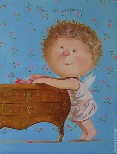 """Купить Картина маслом. Копия картины Е. Гапчинской """"Это мои конфетки"""" - картина"""