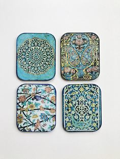 These coasters are made up of high quality MDF base and water resistant sealers. Ideal for drinks or decoration. The designs are inspired by Persian and Turkish tiles. Size: 9cm by 10cm If you are a mix and match person just send me a message and i do my best to help you with it :) Thanks