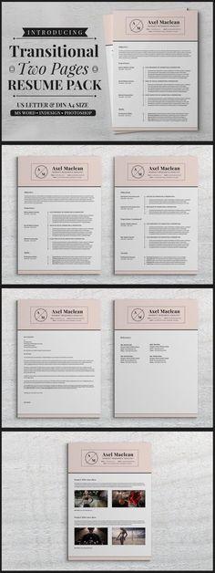 Transitional Two Pages Resume Pack #simpleresume #2pagemswordresume #CV #ResumeTemplateDesign #ttf #usletter #cvtemplate #StationeryTemplates #2pagescv #ResumeTips #ResumeWriting #ResumeWriting #microsoftword #PaperDesign #2pagesresume #stationery #portfolio #ResumeTips #businesscards Indesign Resume Template, Resume Design Template, Cv Template, Print Templates, Stationery Printing, Stationery Templates, Stationery Design, Simple Resume, Cv Design