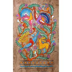 Birds of Paradise traditional Amate Bark Painting, Otomi Indians, San Pablito, Mexico