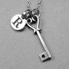 Key Necklace heart key charm key jewelry by chrysdesignsjewelry