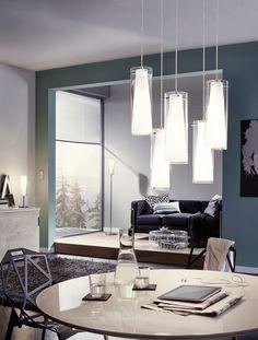 EGLO Pinto Family with pendant lamp table lamp 89835 and floor lamp 89836 Clear Glass Pendant Light, Multi Luminaire, Pendant Chandelier, Lighting Store, Lighting Online, Living Room Lighting, Glass Shades, Floor Lamp, Living Spaces