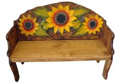 Sunflower Hand Painted Solid Wood Rustic Bench | Carved sunflower bench
