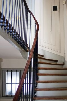 stairs with iron rail