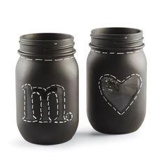 Chalkboard Mason JarsChalkboard Mason Jars--use custom vinyl stencils to create a fun chalkboard mason jar gift