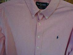 RALPH LAUREN POLO Mens Button Front Shirt Long Sleeve XXL 2X 2XL Big Tall Pink #RalphLauren #ButtonFront